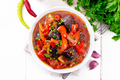 Ragout vegetable with eggplant on white board top - PhotoDune Item for Sale