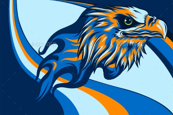 Illustration Eagle Head with Flame Vector Design