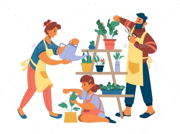 Family Gardening at Home Together Water Flowerpots
