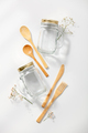 Zero waste, eco friendly concept. Glass jars and bamboo cutlery on white background - PhotoDune Item for Sale