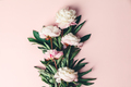 Flat-lay of Beautiful peony flowers over pink background, top view, copy space - PhotoDune Item for Sale