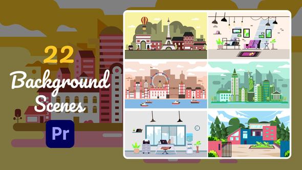 22 Background Scenes | Premiere Pro MOGRT
