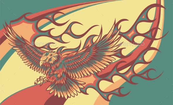Vector Illustration of Eagle with Flames on