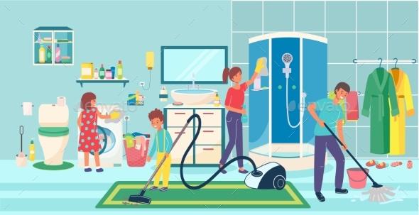 Joyful Family Cleaning Bathroom Cozy Home