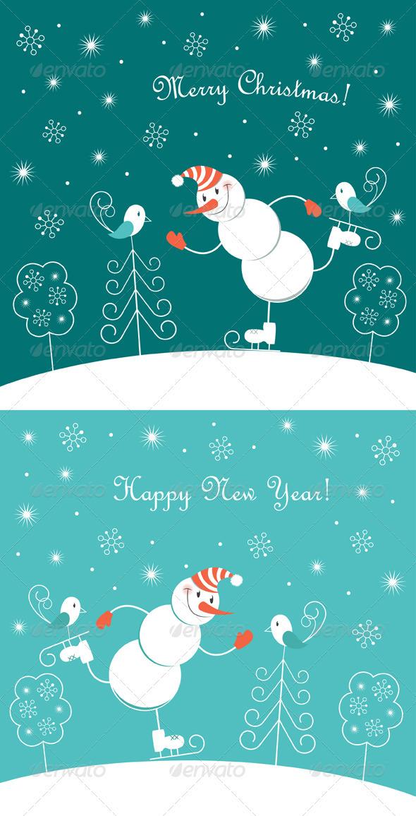 Skating Happy Snowman