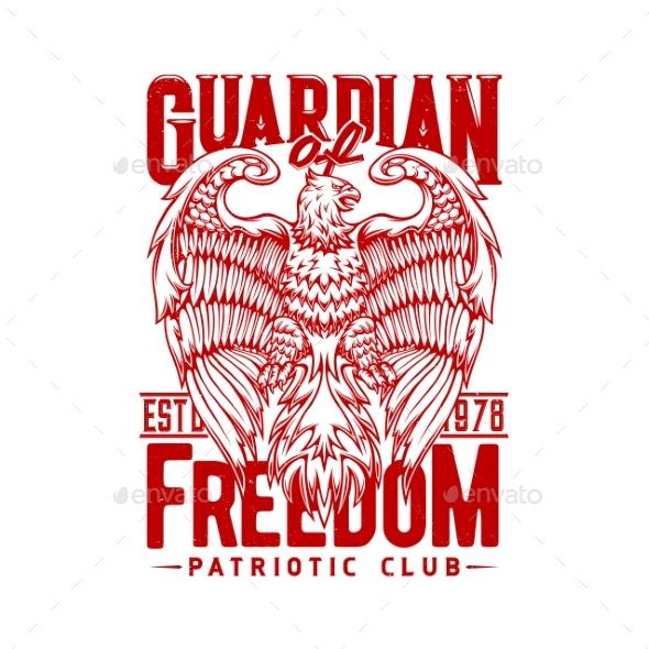 Tshirt Print with Eagle Mascot for Patriotic Club