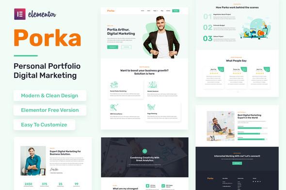 Porka - Digital Marketing Personal Portfolio Elementor Template Kit