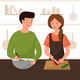 A Couple Is Preparing Dinner in the Kitchen - GraphicRiver Item for Sale