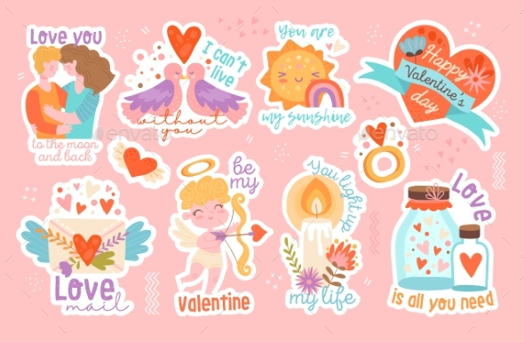 Set of Eight Different Valentines Day Stickers
