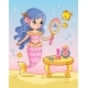 The Mermaid Looks in the Mirror Near the Table - GraphicRiver Item for Sale