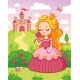 Little Cute Princess in a Beautiful Dress Sniffs a - GraphicRiver Item for Sale