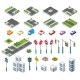 Isometric Set Building Houses Icons of Blocks - GraphicRiver Item for Sale