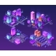Isometric Neon City Set of Violet Colors - GraphicRiver Item for Sale
