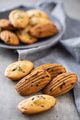 Madeleine with chocolate. Traditional French small cakes. - PhotoDune Item for Sale