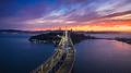 Aerial view of San Francisco Oakland Bay Bridge at Sunset - PhotoDune Item for Sale
