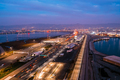 Aerial view of freeways in San Francisco Bay during rush hour at dusk - PhotoDune Item for Sale