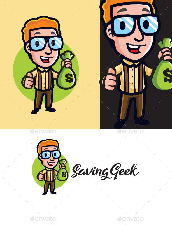 Money Saving Geek Mascot Logo
