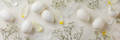 Easter concept. Eggs and flowers on white background - PhotoDune Item for Sale