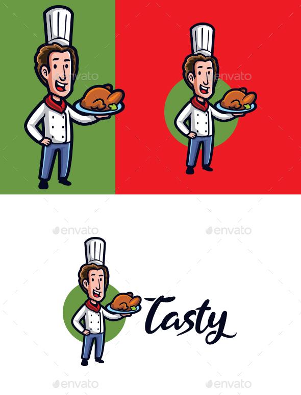 Tasty Food - Chef Mascot Logo