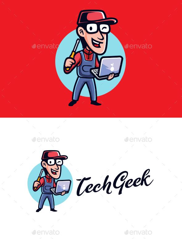 Tech Geek Mascot Logo