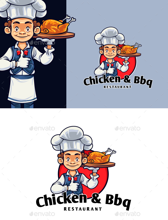 Chicken And BBQ Chef Mascot Logo