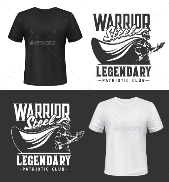 Knight Warrior with Sword and Shield Tshirt Print