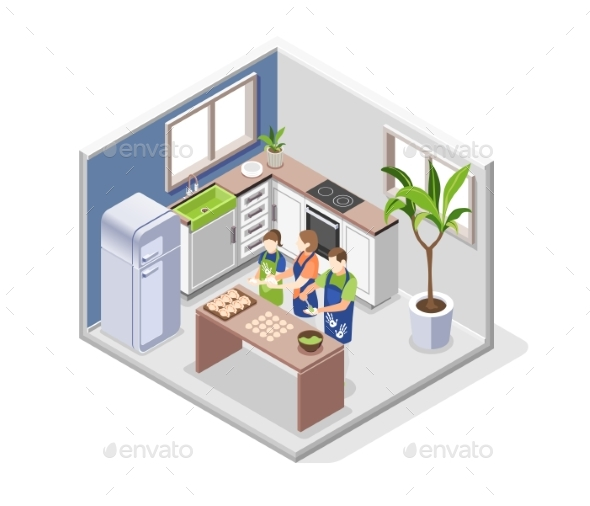 Family Cooking Isometric Concept