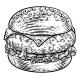 Burger Hamburger Vintage Woodcut Illustration - GraphicRiver Item for Sale