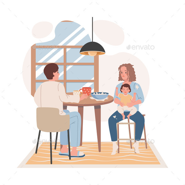 Family Breakfast at the Kitchen Vector Flat