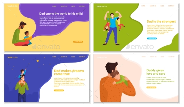 Set of Web Pages for Happy Fathers Day