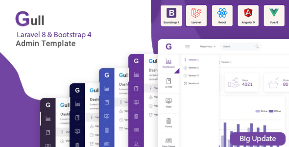 Gull –  Bootstrap 4 HTML & Laravel  Admin Dashboard Template