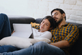 Couple Sleeping While Watching Movie - PhotoDune Item for Sale