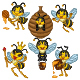 Set of Six Cartoon Bees Character - GraphicRiver Item for Sale