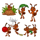 Set of Six Cartoon Brown Ant Animal - GraphicRiver Item for Sale