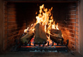 Burning fireplace, real wood logs, cozy warm home at xmas time - PhotoDune Item for Sale