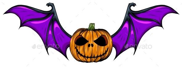 Halloween Pumpkin with Bat Wings Vector