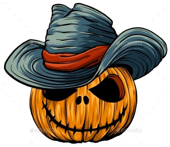 Halloween Pumpkin in Witches Hat Vector