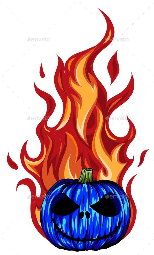 Halloween Pumpkin in Fire Vector Illustration