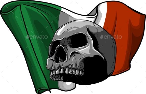 Human Skull with Italian Flag Vector Illustration