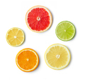 slices of various citrus fruit isolated on white background, top view - PhotoDune Item for Sale