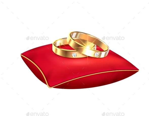 Wedding Rings Realistic Big Set with Isolated