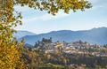 Barga village at sunset in autumn. Garfagnana, Tuscany, Italy. - PhotoDune Item for Sale
