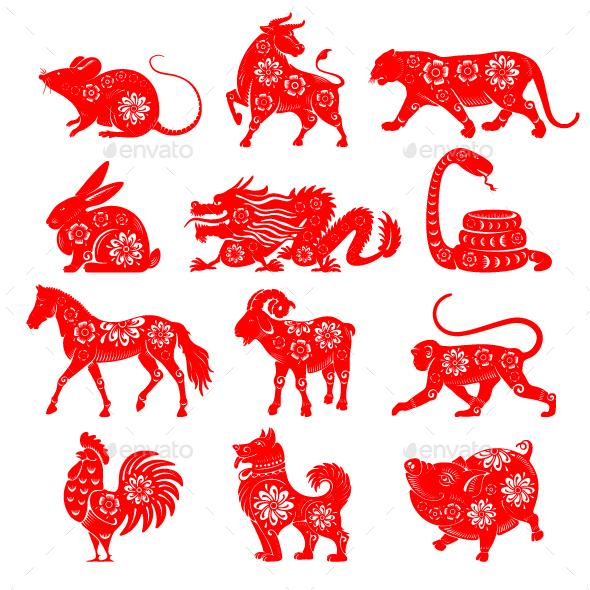 Chinese Zodiac Signs Set