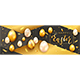 Easter Banner with Eggs on Black and Gold Background - GraphicRiver Item for Sale