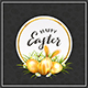 Card with Golden Easter Eggs in Grass with Rabbit Ears on Black Background - GraphicRiver Item for Sale