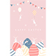 Easter Rabbits with Eggs and Pennants on Pink Sky - GraphicRiver Item for Sale