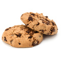Two Chocolate chip cookies isolated on white background. Sweet biscuits. Homemade pastry. - PhotoDune Item for Sale