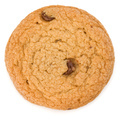 One Chocolate chip cookie isolated on white background. Sweet biscuit. Homemade pastry. - PhotoDune Item for Sale
