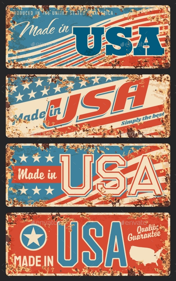 Made in USA Rusty Metal Plate Signboard Vector