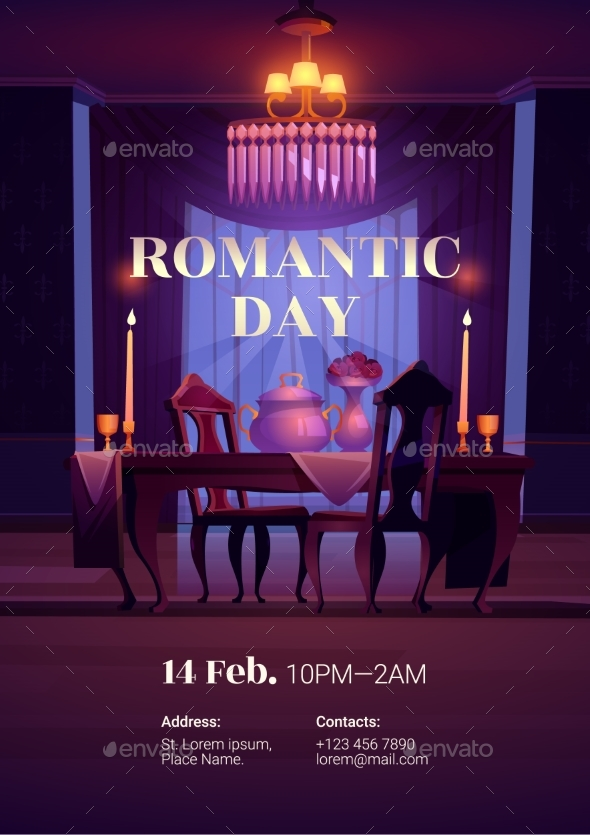 Valentines Day Poster for Romantic Dinner